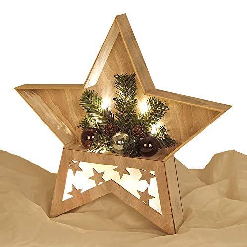 Stella Di Natale Legno.Stella Di Legno Con Luce A Led E Rami Di Abete Decorazione Da