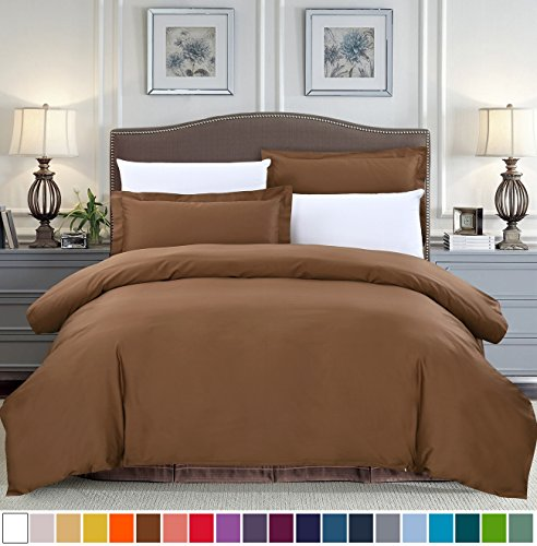 Chocolate King Duvet Cover - SUSYBAO 3 Pieces Duvet Cover Set 100% Cotton King Size 1 Duvet Cover 2 Pillow Shams Chocolate Brown Luxury Quality Soft Breathable Hypoallergenic Fade Stain Resistant Solid Bedding with Zipper Ties