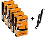 Continental Race 28'' 700x20-25c Bicycle Inner Tube Bundle - 42mm Long Presta Valve (Pack of 5 w/ 2 Black Tire Levers)