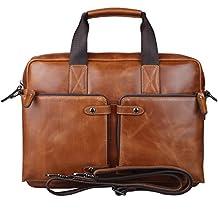 S-ZONE Vintage England Fashion Geniune Soft leather Briefcase Shoulder laptop Bag