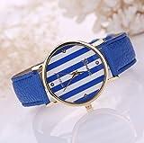 PromiseU Fashion Women Geneva Stripes Dial Leather Band Quartz Watch