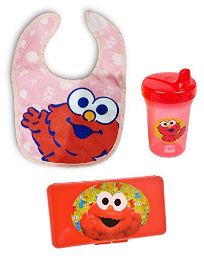 Elmo Pink & Red 3 pc Gift Set for Girl / Her Baby Toddler - Bib, Cup, and Wipes Case (Birthday / Christmas / All Occasion)