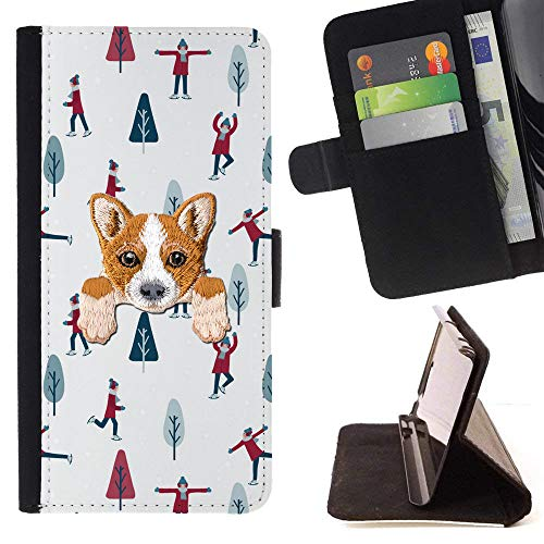 [ Welsh Corgi ] Embroidered Cute Dog Puppy Leather Wallet Case for Samsung Galaxy S8 [ Ice Skating Christmas Pattern ]