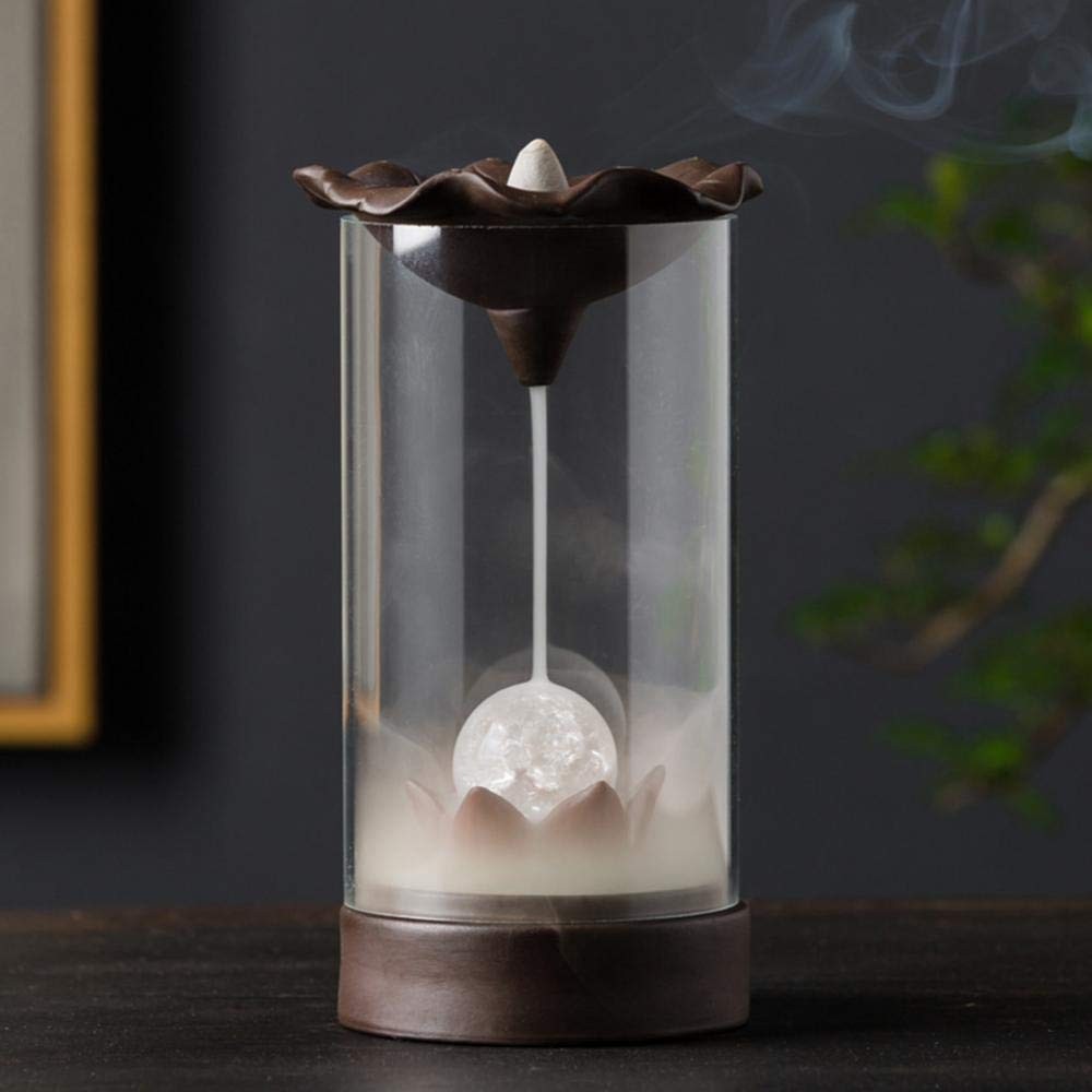 YYW Incense Burner Backflow Incense Burner Waterfall Smoke LED Light Incense Holder Cones for Home Office Decor with 10PCs Cones by YYW (Image #2)