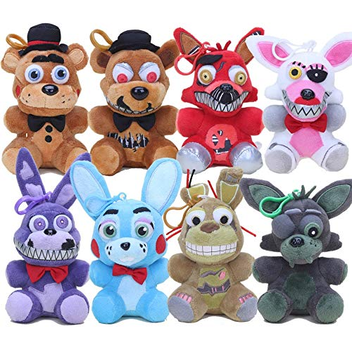 PAPCOOL Set 8 Five Nights at Freddy's Plush Toys 5 inch FNAF Hot Toy Foxy Bonnie Chica Freddy Bear Freddys Stuffed Christmas Halloween Collectable Gift Gifts Stuff Collectible Collectibles for Kids ()