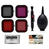 Scuba and Snow Filter Kit (Red, Purple, Pink, Gray) with Lens Brush Pen, Dust Blower and Microfiber Cleaning Cloth for GoPro Hero3+ and Hero4 Action Cameras