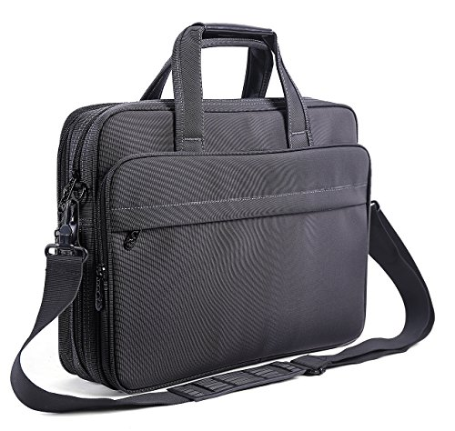 Expandable Laptop Computer Briefcase (Laptop Briefcase 15.6 Inch Business Office Bag Laptop Bag for Men Women, Expandable Waterproof Stylish Nylon Multi-functional Laptop Shoulder Messenger Bag Computer Bag fit for Notebok Macbook Hp Dell)