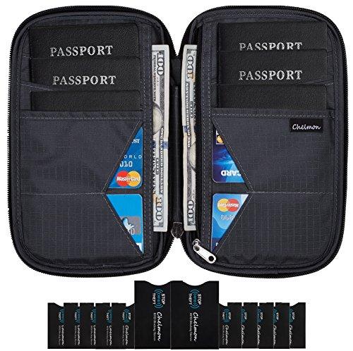 Chelmon Travel Wallet & Family Passport Holder w/RFID Blocking- Document Organizer Case (deep grey)