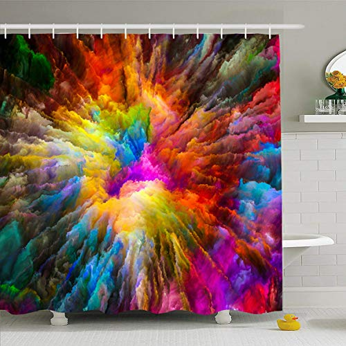 Ahawoso Shower Curtain 66x72 Inches Cloud Vision Color Explosion Vibrant Paint Fractal Abstract Burst Dream Drug Design Waterproof Polyester Fabric Set with Hooks -