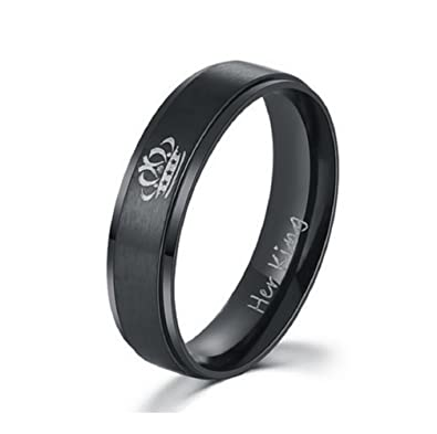 Stainless Steel Her King Engagement Wedding Bands Anniversary Gift For Him,  Black (His Size