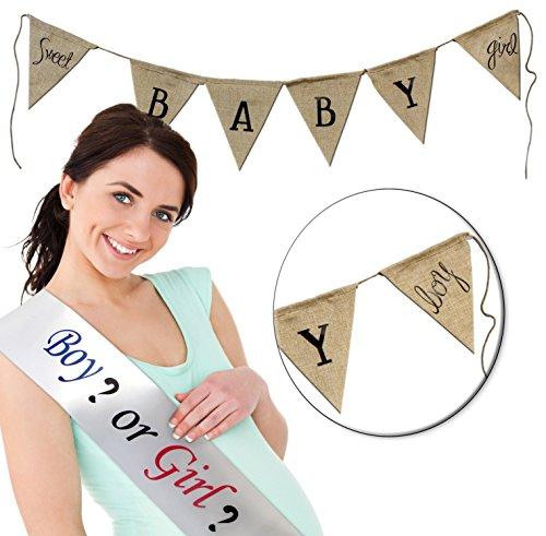 "4' Satin Sash - Gender Reveal Baby Shower Set w/ Reversible 4' Burlap Banner & ""Boy or Girl?"" 29"" White Satin Sash (2 Piece Combo Set); Party Supplies"