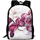 CY-STORE Botanical Magnolias Print Custom Casual School Bag Backpack Travel Daypack Gifts