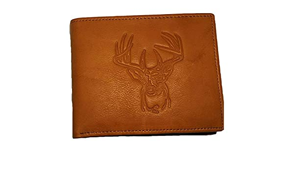 e3a481ea7b0c Deer Head All Leather Bifold Wallet at Amazon Men's Clothing store: