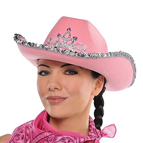 High Riding Western Party Pink Rhinestone Cowboy Hat Accessory, Fabric, 7