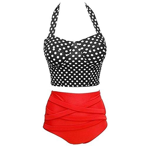 MOMOKI Tall waist Ms. Sexy swimsuit bikini (L, Red) (Womens Suit Tall)