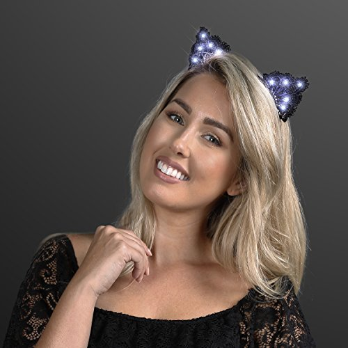 Black Lace Light Up Kitty Cat Ears Headband with White LEDs by -