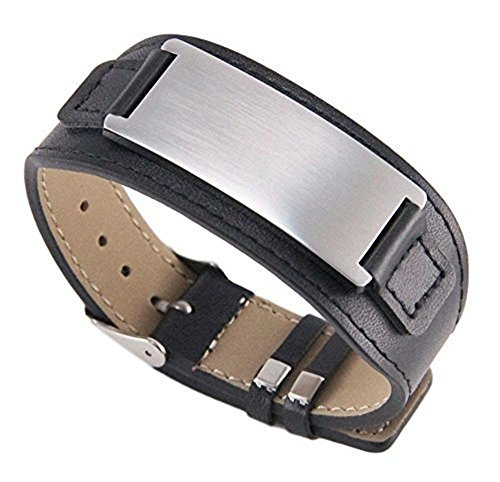 Free Engraving - Quality Stainless Steel with Leather Bracelet (Personalized Engraved Leather)