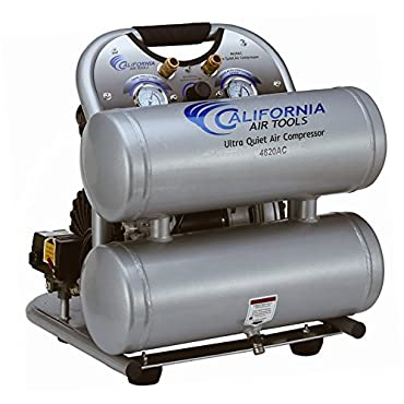 California Air Tools CAT-4620AC Ultra Quiet & Oil-Free 2.0 hp 4.0 gallon Aluminum Twin Tank Electric Portable Air Compressor, Silver