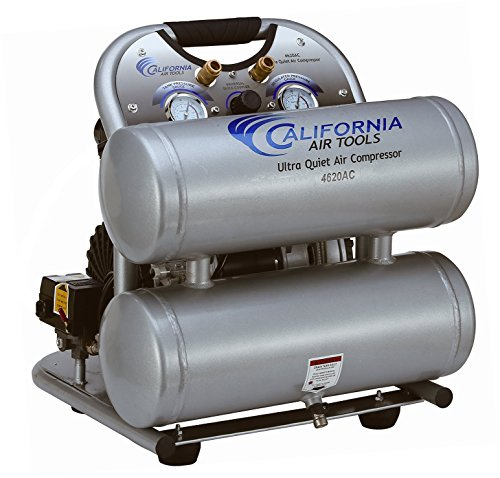 California Air Tools CAT-4620AC Ultra Quiet & Oil-Free 2.0 hp 4.0 gallon Aluminum Twin Tank Electric Portable Air Compressor, Silver (Best 2 Gallon Air Compressor)