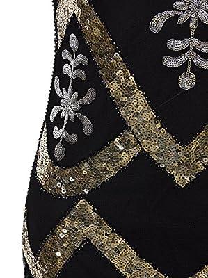 Vijiv Women's 1920s Beaded Flapper Dress Sequin Maxi Formal Wedding Evening Gown