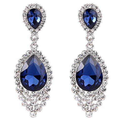 Blue Stone Chandelier - BriLove Women's Wedding Bridal Crystal Teardrop Cluster Beads Chandelier Dangle Pierced Earrings Navy Blue Silver-Tone