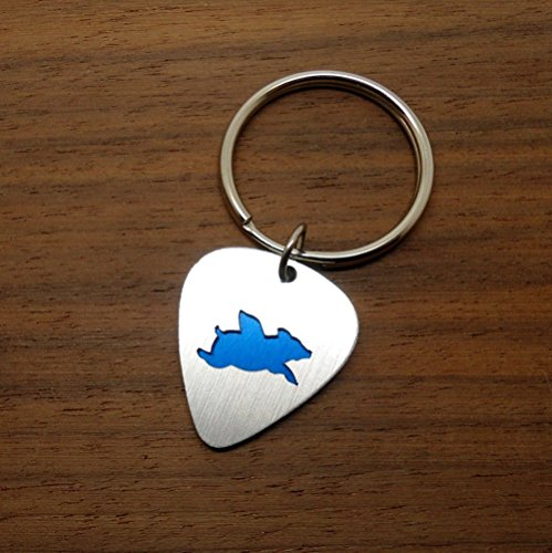 Flying Pig Keychain Keyring Made From Guitar Picks Choose Your Color (Overlay Ham)
