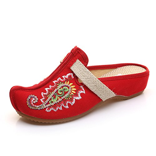 Zapatillas Zapatos oras Zapatillas Zapatos NGRDX Bordados Vetado oras Se Diapositivas Se Open Sandalias Planas Hogar Retro Oxford Zapatillas Zapatillas JTR amp;G xqXqrgwPTv