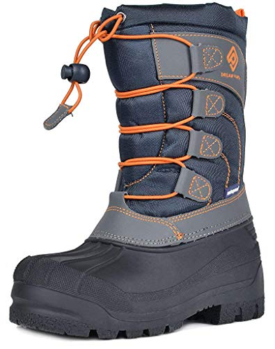 DREAM PAIRS Little Kid Knorth Navy Grey Orange Isulated Fur Winter Waterproof Snow Boots Size 1 M US Little Kid (Kid Big Boys Snow Boots)