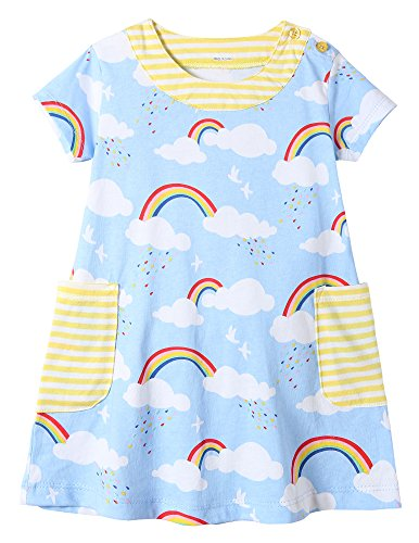 Price comparison product image Fiream Girls Summer Cotton Casual Flower Dresses Shortsleeve by (Bluesky,4T/4-5YRS)