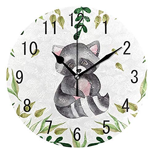 xuyuandass Wall Clocks Decor Watercolor Cute Raccoon with Green Leaves Round Acrylic Non Ticking Silent Art Living Room Bedroom Children's Room Home Decor for Family Kitchen Office