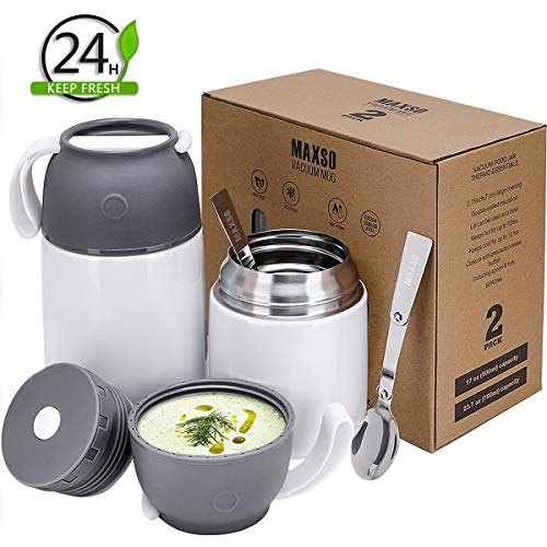 - 2 Pack Vacuum Insulated Thermos Food Jar, School Lunch Box for Kids, 24 oz,17 oz Stainless Steel Flask to Go Containers - Hot & Cold Meals Soup Bowls, Baby Food Storage
