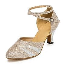 TDA Women's Chunky Mid Heel Glitter Latin Dance Shoes Tango Jazz Salsa Shoes
