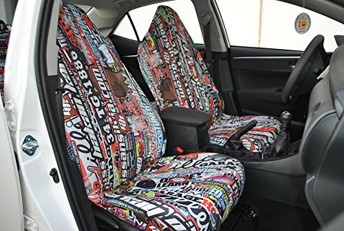 Decorative Car Seat Covers (Seat Cover and Protector,flexible,washable,easy assembling,2 front low back seat covers + 60inchesx63inches patterned.Not made in China, will not stain your seat. Made in Turkey with Turkish textiles.)