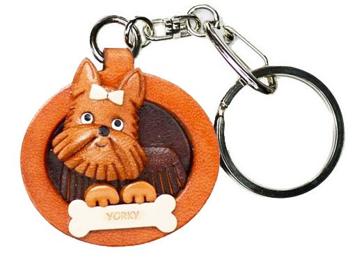 Yorkshire Terrier Leather Plate Dog Keychain VANCA CRAFT-Collectible keyring Made in Japan