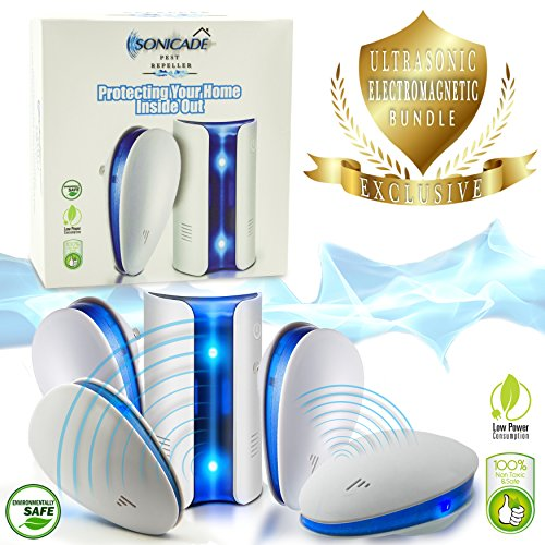 Ultrasonic Electromagnetic Pest Repeller control/2 models/5 PACK-Plug In Indoor-Electronic Pest Reject Repllent for Mosquitoes/Mice/Ants/Spiders/Roaches/Insects-Replace Mouse Traps/Non-toxic/Pet (Animal Bait Trapping Kit)