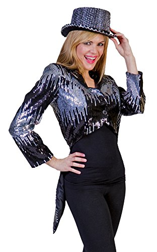 UHC Unisex Glitter Tailcoat Silver Disco Theme Party Adult Halloween Costume, L (42-44) (Clown Tailcoat Costume)