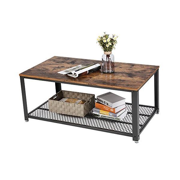 VASAGLE Table Basse au Design Industriel avec Grand Plateau, Pieds réglables, Protection du Sol, Armature en métal…