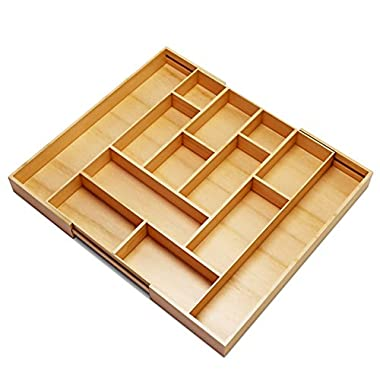 Silverware Kitchen Drawer Organizer -Expendable Bamboo Tray with Adjustable Dividers Eliminate Clutter-Great As a Flatware Utensil Holder,Keurig K Cup Coffee Capsules Storage or Spice Rack
