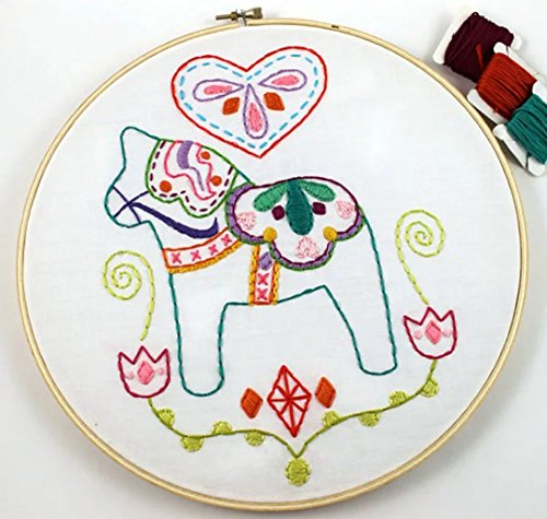 - Embroidery Kit for Beginner Cute Animal Design DIY Home Wall Decor Wooden Horse
