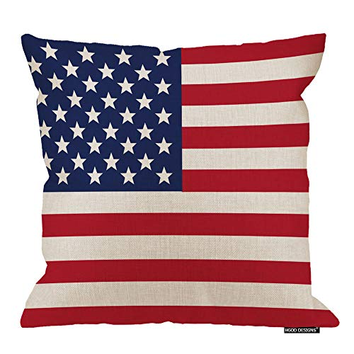 HGOD DESIGNS Cotton Linen Patriotic American Flag Red White Blue Throw Pillow Covers(18 X 18 Inches)]()