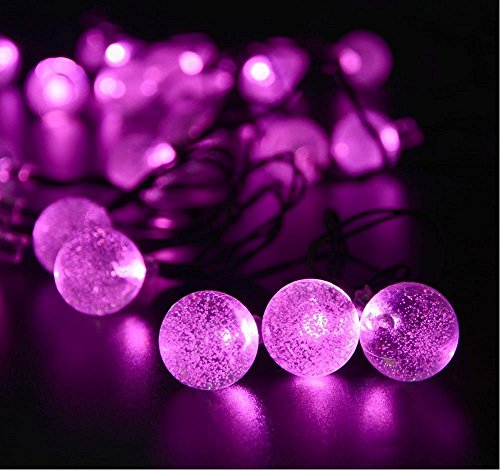 Sea Star Christmas,halloween String Decorative Lights,20 leds pink Crystal Ball for Gardens, Lawn, Patio, Christmas Trees, Weddings, Parties(pink, battery) Crystal Twenty Light