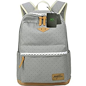 Mygreen Casual Dot 14 Inch Laptop Backpacks Kawaii Girls Canvas Portable School Backpack Grey