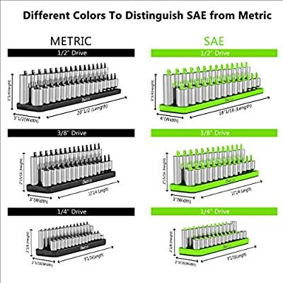 SAE (Green) & Metric (Black) Socket Storage Trays - 6 Piece Set | 1/4-Inch, 3/8-Inch, 1/2-Inch Drive | Premium Quality Tool Organizer | by Olsa Tools: Automotive