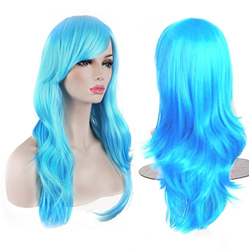 (AKStore Women's Heat Resistant 28-Inch 70cm Long Curly Hair Wig with Wig Cap, Light Blue)
