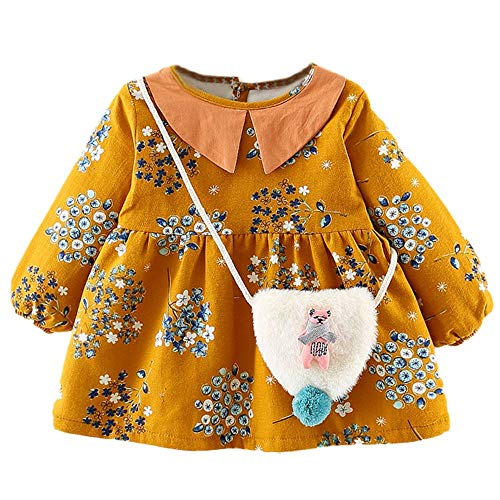 Price comparison product image NUWFOR Toddler Baby Girls Long Sleeves Broken Flower Print Lace Princess Dress+Bag SetsYellow, 0-6 Months