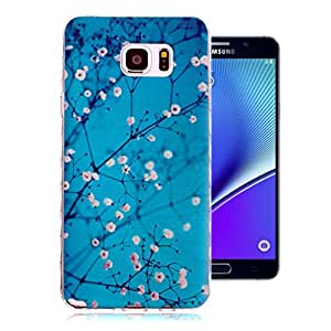 """For Galaxy Note 5 Case , ivencase Silicone Cover Ultra Slim Soft TPU Flower Back Skin Thin Fit Samsung Galaxy Note 5 (5.7inch) + One """"ivencase """" Anti-dust Plug Stopper"""