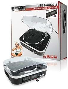 König HAV-TT25USB - Tocadiscos para equipo de audio (USB, SD, 1.6 W, radio), negro y plateado