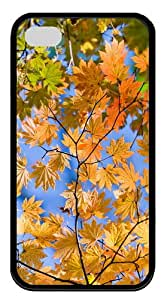 for cheap cover Autumn Sky Leaves TPU Black Case for iphone 4/4S