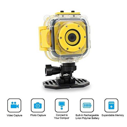 Ocamo - Cámara de acción digital para niños de 1,77 pulgadas, videocámara HD DV, resistente al agua