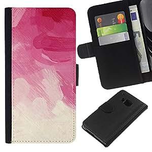 All Phone Most Case / Oferta Especial Cáscara Funda de cuero Monedero Cubierta de proteccion Caso / Wallet Case for HTC One M7 // Pink Brush Strokes Vignette Floral Clouds
